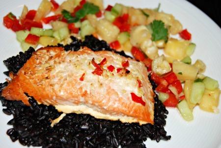Coconut and lime salmon, pineapple salsa, black rice